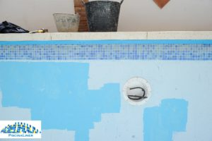 Poor condition fibreglass coated pool