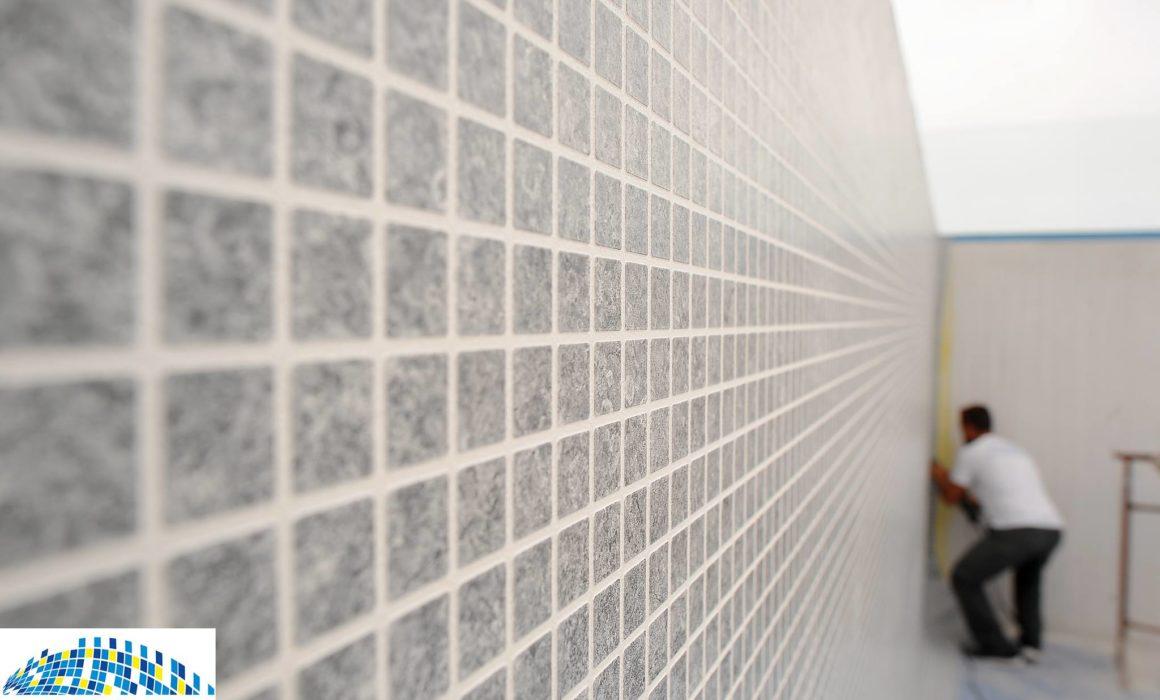 Grey tile effect pool liner. ETNA range