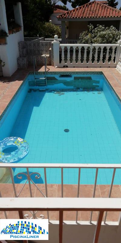 Damaged pool tiles