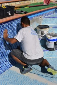 Working on repairing the pool. Almeria