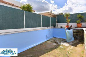 Bright blue pool liner