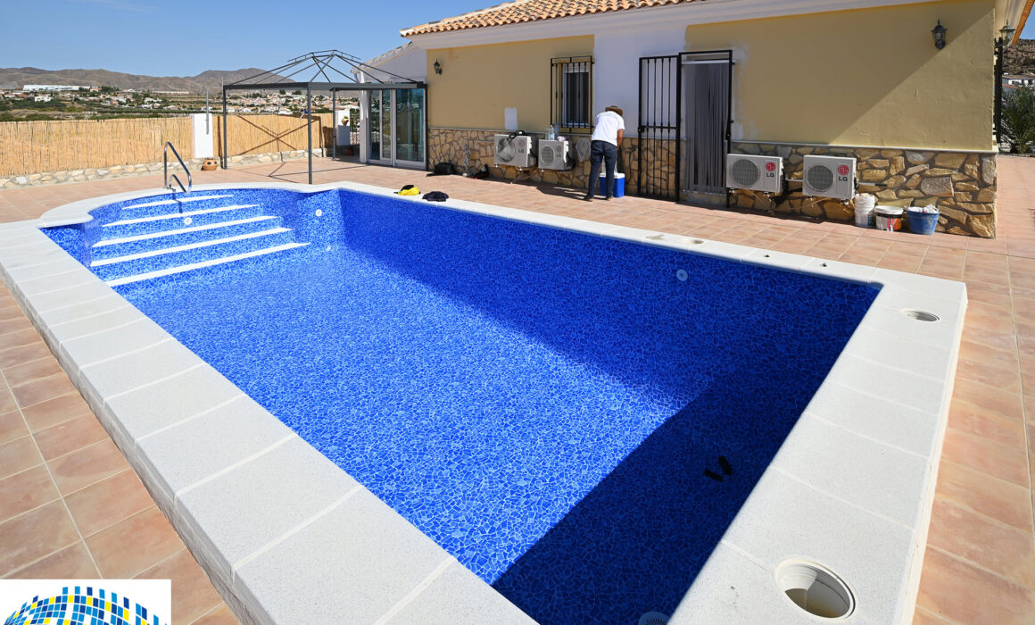 A newly renovated pool ready to be filled