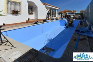 Lining a swimming pool