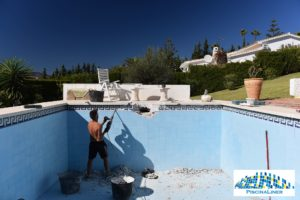 Repair of cracked pool, earthquake damage