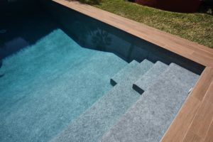 Natural grey stone pool liner