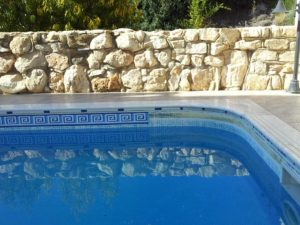 Swimming pool border fitment