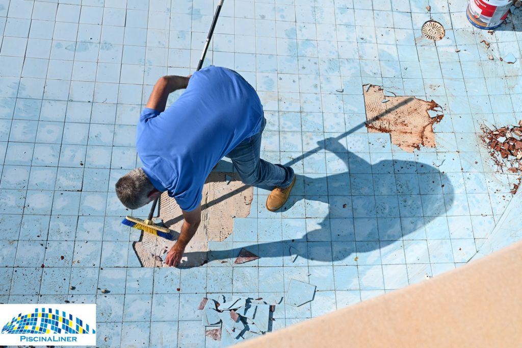 Loose blown pool tile repairs